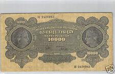 POLOGNE 10 000 MAREK 11.3.1922 N° H 2436983 PICK 32