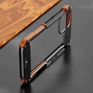 Case For iPhone 12 Pro Max 11 Pro Max Aluminum Bumper Metal & Wood Phone Cover