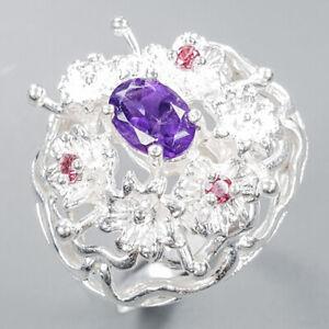 Amethyst Ring Silver 925 Sterling Handmade Ring Size 8.75 /R148539