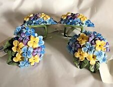 New 4 Bardwil Linens Napkin Rings Marthas Vineyard Blue Purple Floral Holde