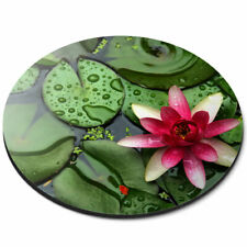 Round Mouse Mat - Pink Water Lily Flower Pond Zen Office Gift #12200