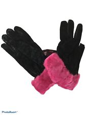 Lot Of 12 Thinsulate 3M 40 Gram Women's Gloves Black Pink Trim  One Size New