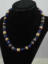 "Ralph Lauren Goldtone Blue Indigo Disc Bead 18""  Toggle Necklace $64"
