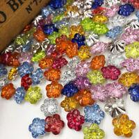 50/100pcs Mix Flowers Plastic Buttons Backholes Sewing Craft PT130