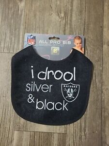 NFL Las Vegas Raiders Infant ALL PRO Baby Bib I Drool Silver & Black