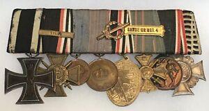 WWI German eight medal bar in parade mount, Iron Cross/ Original/ Navy Veteran