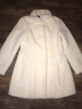 SAMPLE PIECE!!! Elevenses Size 8 Medium Furry Fur Soft Topcoat Jacket White Warm