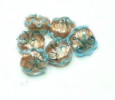 6 INDIAN LAMPWORK GLASS BEADS GOLD 15x15mm FOIL/BLUE DISCS (BBB634)