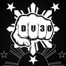 DU30 Duterte Fist Decal Filipino 1 Sun 3 Stars - White