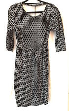Max Mara Weekend 14 Elegant Black/White Belted Jersey Dress Perfect Used Once