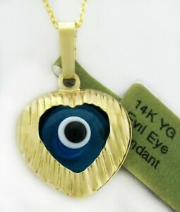 EVIL EYE PROTECTION HEARTPENDANT   14k Yellow Gold * NEW WITH TAG * Free Chain*