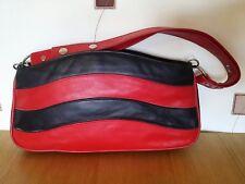 BAG SHOULDER HAND RED BLACK FAUX? LEATHER VINTAGE RETRO