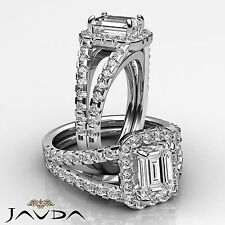 Vintage Style Emerald Cut Diamond Engagement Ring GIA I SI1 14k White Gold 2 ct