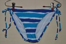 CONVERSE One Star Turquoise Blue White Striped Bikini Bottom Size L NWOT