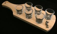 Tennis Player Set of 6 Shot Glasses with Wooden Paddle Tray Holder 369
