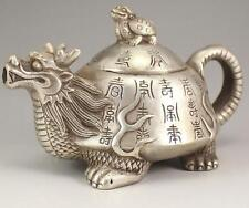 J81 Collection old Tibetan Silver Hand carved Dragon Turtle Teapot