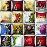 "LN_ LC_ 18"" Merry Christmas Tree Gift Throw Pillow Case Cushion Cover Sofa Dec"