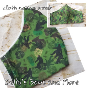 Adult regular....Green camo. Big FOOT.... Washable Fabric Mask with pocket