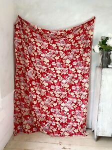 Beautiful red Art Nouveau floral design French curtain fabric drape 1900 textile