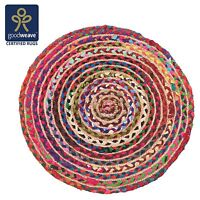 Fair Trade Round Rag Rug Jute & Cotton Multicolour Braided Shabby 60 90 120 150
