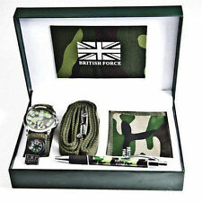 MENS WRIST WATCH BRITISH FORCE ARMY WALLET PEN BELT COMPASS GIFT SET IN BOX CASE