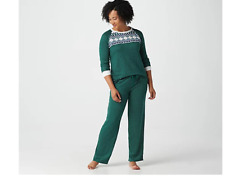 Cuddl Duds Apres Ski Pajama Set Evergreen Size Small, A368476