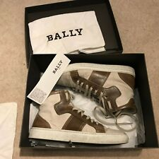 MENS BALLY HI TOP TRAINERS BROWN LEATHER TRIM UK 7.5 LACE UP BOOTS SHOES