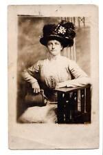 RPPC young lady big hat purse fashion mission chair Davis Studio Pittsburg, PA.