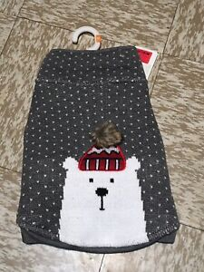 Top Paw Polar Bear Dog Sweater Grey White Knit Christmas Winter Holiday Medium