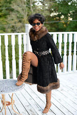 Designer Full length Swakara Karakul & Barguzin Russian sable Fur Coat XS-S 2-4