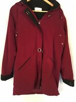 Ladies EWM Maroon Coat With Detachable Hood Size 10 Used Condition  <G300