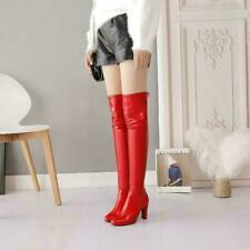 Womens Block Heels Over Knee Thigh High Boots Riding Boots PU Leather Shoes Sz 9