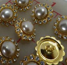 "48 vintage Czech gold metal rhinestone shank buttons pearl center 1/2"" 16mm 531"