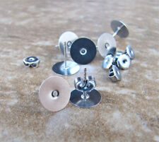 20 pairs (40 pieces) Earring Studs with 8mm Pad - Hypoallergenic Surgical Steel