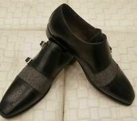 Men's Handmade Genuine Black Leather And Wool Dress Fabric Double Monk Shoes