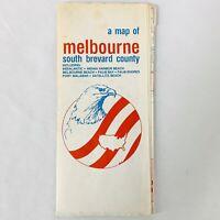 Vintage Travel Map Melbourne South Brevard County Florida Palm Shores Satellite