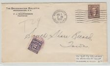 Drop rate 1938 postage due cover double weight short-paid 1cx2 Bridgewater MOOD