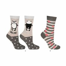 Ladies Gorgeous Hug Me Panda & Hearts 2 Pair Socks Set - One size fits UK 3-7