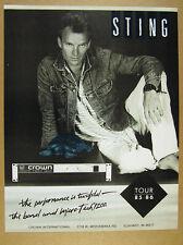 1986 Sting tour 85-86 photo Crown Micro-Tech 1200 vintage print Ad