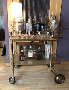 Mid-Century Modern Blonde Wood  Brass Rolling Bar Cart Drawer Side Fold Mad Men