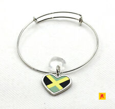 Adjustable Slide Heart Jamaica Flag Bracelet with Heart Charm