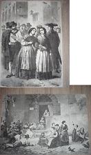 stampa una tombola in trastevere  + Donne di trastevere. ORIGINALS 1866.