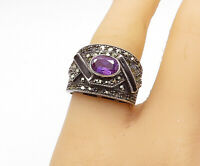 925 Sterling Silver - Vintage Amethyst Onyx & Marcasite Band Ring Sz 8 - R16234