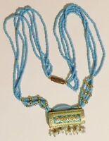 collier rétro petite perle bleu déco émail cristaux bijou couleur or * 3226