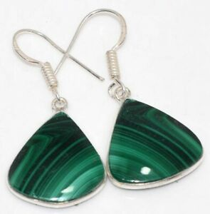 "Malachite 925 Silver Plated Gemstone Handmade Earrings 1.5"" Unique Jewelry GW"
