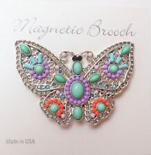 Magnetic Brooch Clip Clasp Pin Silver Butterfly Multi  Accessory Shawls Scarf