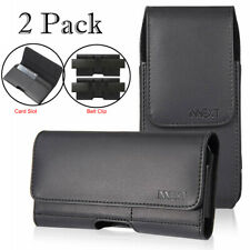 2Pack Horizontal & Vertical Leather Holster Pouch for iPhone 6 7 8 Plus XS Max