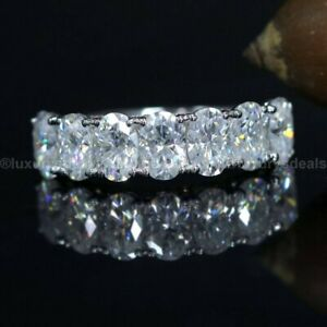 Solid 14k White Gold Diamond Half Eternity Wedding Band Certified 2 CT Oval Cut