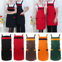 Solid Unisex 2 Pockets Apron Chef Waiter Kitchen Restaurant Cooking Aprons