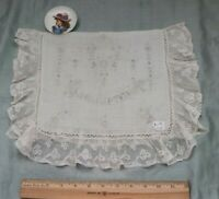 "Antique Swiss Appenzell Hand Embroidered ""Handkerchief"" Case~Lace, Bridal Gift"